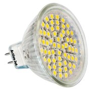 Activejet S6053W,  60 SMD LED bulb with GU5.3 mounting. Warm light.12V Consumption: 3W Luminous Intencity:200 lm Compares to 30W halogen