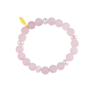 Käevõru poolväriskivide roosa kvartsi ja pärlitega