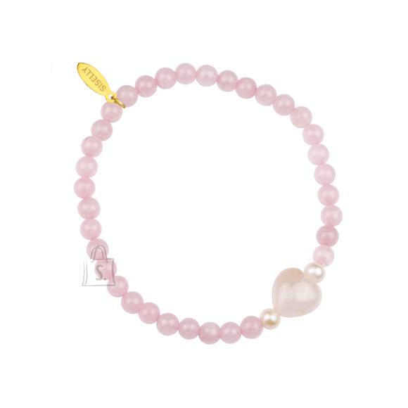 Siselly Laste käevõru poolvääriskivide roosa kvartsi ja pärliga