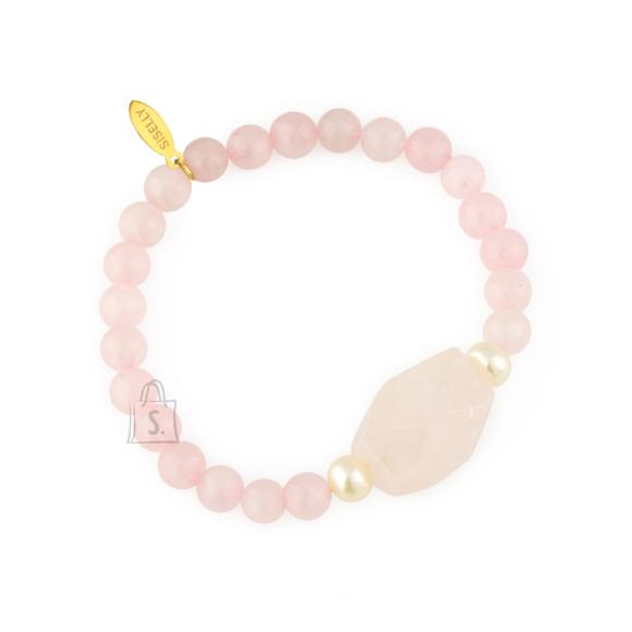 Siselly Käevõru poolvääriskivide roosa kvartsi ja pärliga