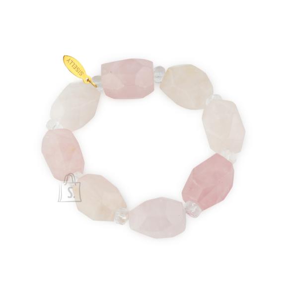 Siselly Käevõru poolvääriskivide roosa kvartsi ja mäekristalliga