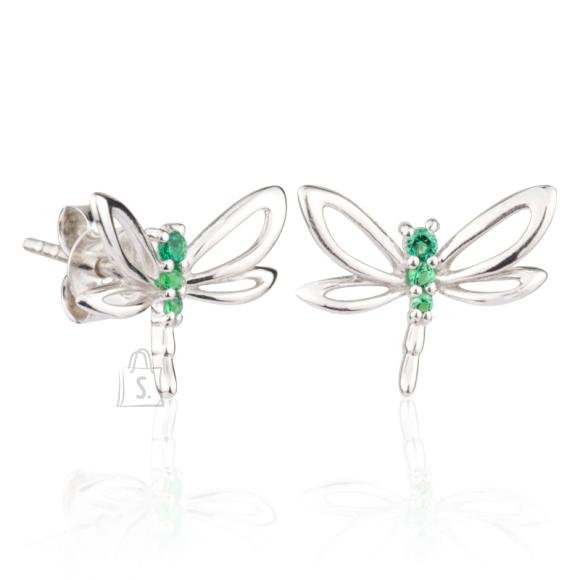 Siselly 925 Hõbekõrvarõngad Emerald nanokristalliga