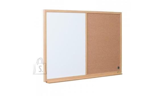 Teadetetahvel BI-OFFICE EARTH 90x60 cm, kork ja valgetahvel, puitraam
