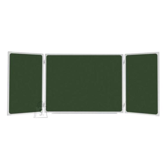 Kriiditahvel 2X3 roheline, 3 sektsiooniline,170x100/340 cm, metallraamiga, värvitud metall