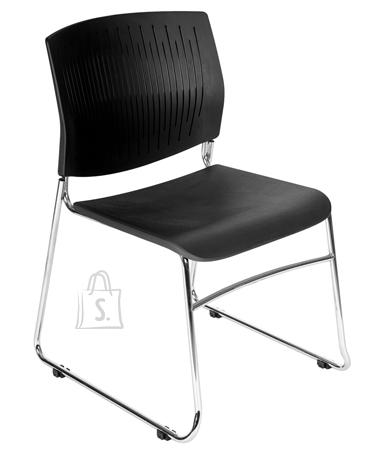 Rocada Klienditool 968 must plastik, kroomitud jalad