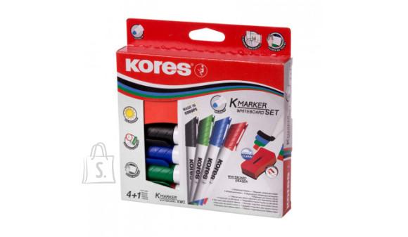 Tahvlimarker Kores K-Marker XW1, kooniline ots, 4 värvi + tahvlipuhastaja