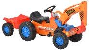Hecht pedaalidega traktor lastele, käru ja kopaga