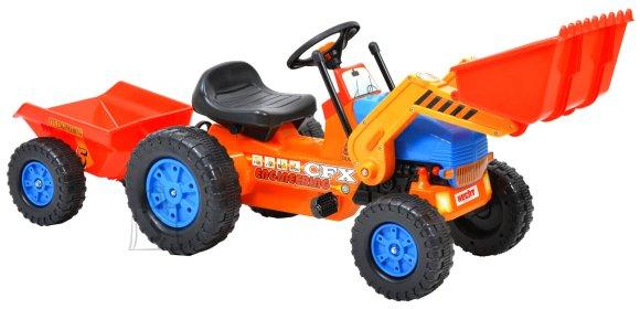 Hecht pedaalidega traktor lastele, käru ja esilaaduriga