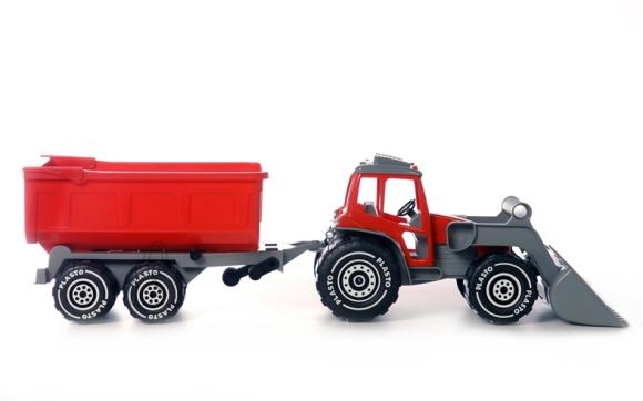 Plasto traktor saha ja järelkäruga 54 cm