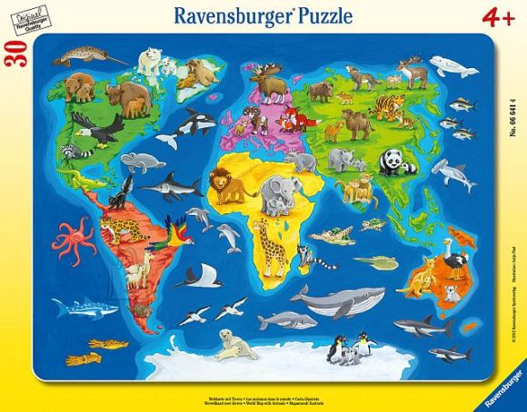 Ravensburger plaatpusle Maailmakaart loomadega 30 tk