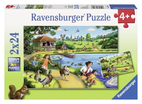 Ravensburger pusle Järve ääres mängimas 2 x 24 tk