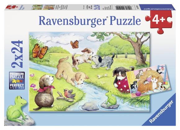 Ravensburger pusle Kiisud ja kutsud mängimas 2 x 24 tk