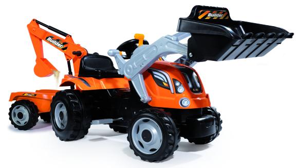 Smoby traktor Builder max saha ja kopaga +käru lastele