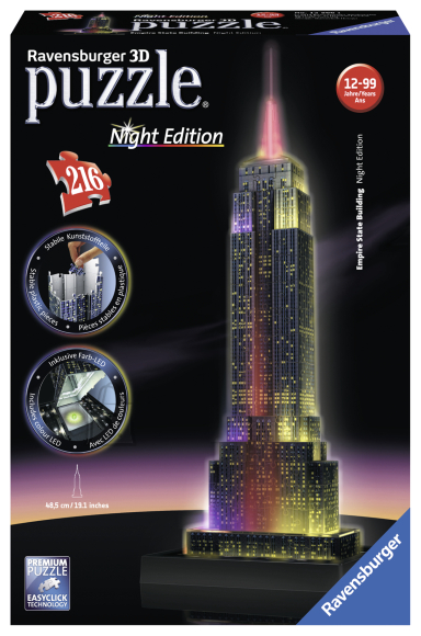Ravensburger 3D pimedas helendav pusle Empire State Building 216tk