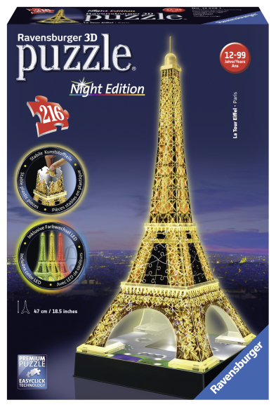 Ravensburger 3D pimedas helendav pusle Eiffeli torn 216 tk