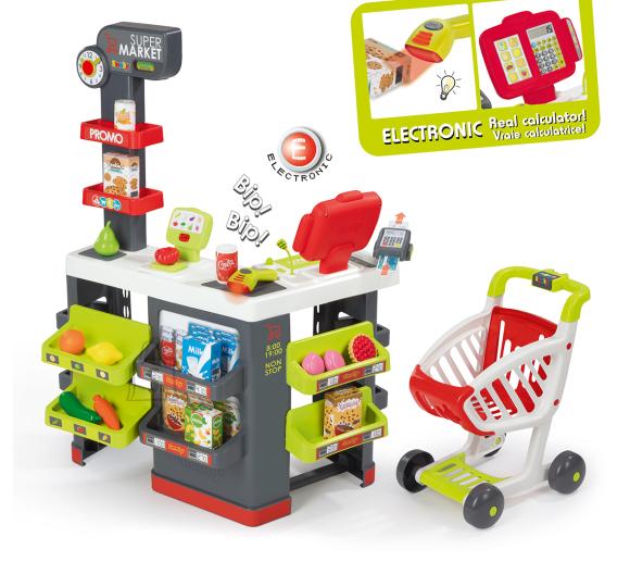 Smoby elektrooniline supermarket ostukäruga