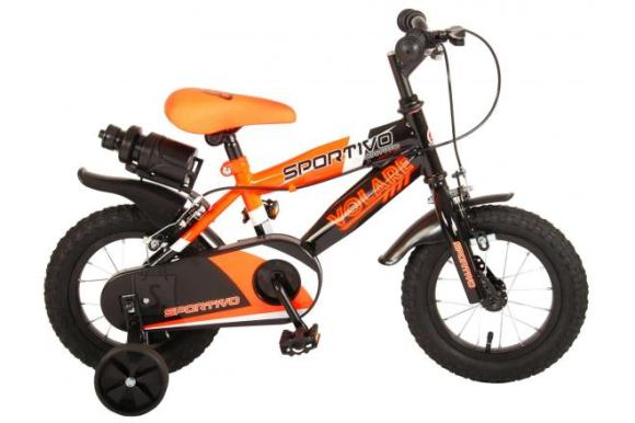 Volare Volare Sportivo Children's Bicycle - Boys - 12 inch - Neon Orange Black - Two handbrakes - 95% assembled