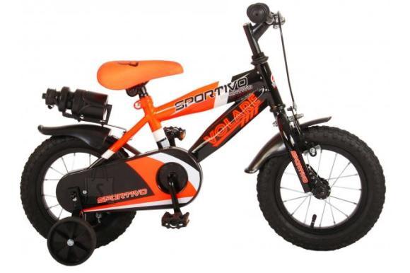 Volare Volare Sportivo Children's Bicycle - Boys - 12 inch - Neon Orange Black - 95% assembled