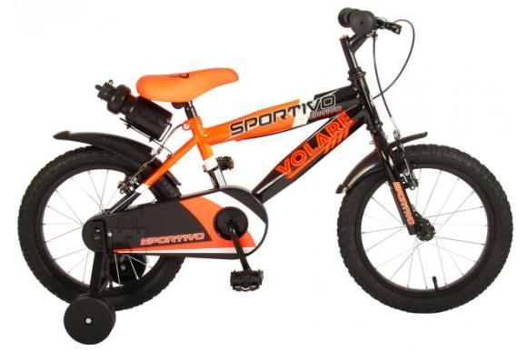 Volare Volare Sportivo Children's Bicycle - Boys - 16 inch - Neon Orange Black - Two handbrakes - 95% assembled