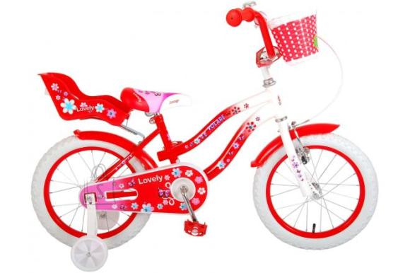 Volare Volare Lovely Children's Bicycle - Girls - 16 inch - Red White - 95% assembled