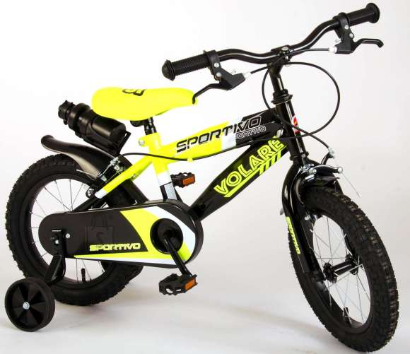 Volare Volare Sportivo Children's Bicycle - Boys - 14 inch - Neon Yellow Black - Two handbrakes - 95% assembled