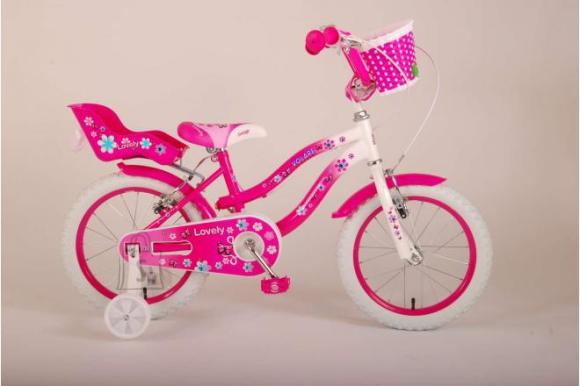 Volare Volare Lovely Children's Bicycle - Girls - 16 inch - Pink White - Two handbrakes - 95% assembled