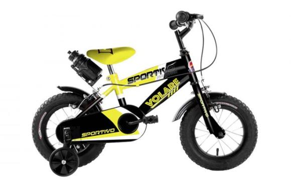 Volare Volare Sportivo Children's Bicycle - Boys - 12 inch - Neon Yellow Black - Two handbrakes - 95% assembled