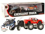 Puksiiriga Monster Truck ja sportauto