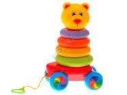 Värviline ratastega püramiid lastele