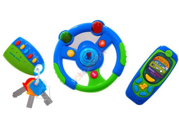 Mobiiltelefon koos puldi ja interaktiivse rooliga väikelastele