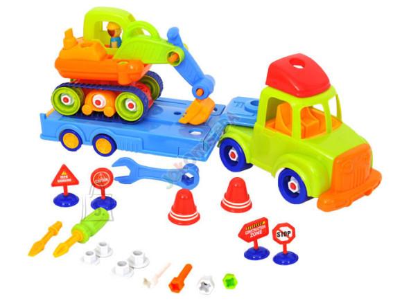 Mängusõidukid treilerauto ja ekskavaator