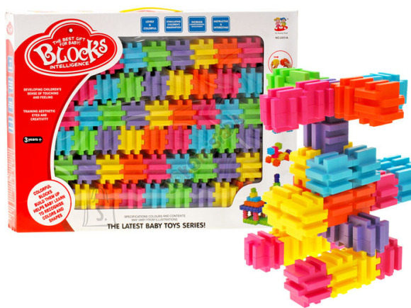 Värvilised ehitusklotsid, 54 osa