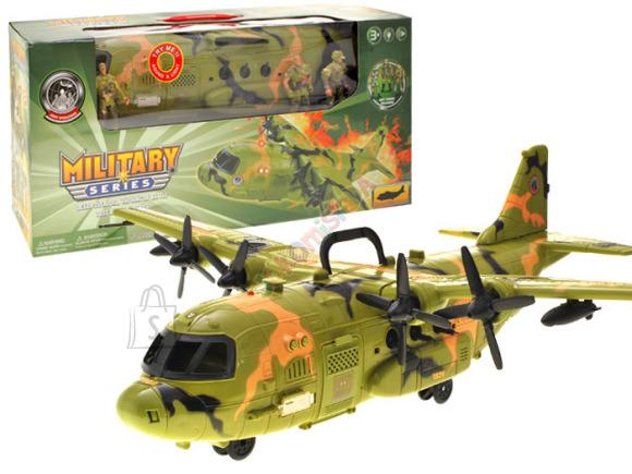 Militaarvärvides sõjalennuk ja kolm mängusõdurit