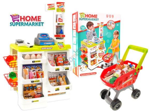 Mängupood koos tarvikute ja ostukäruga