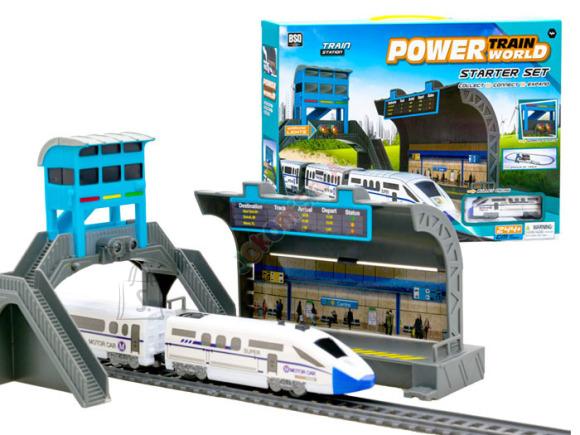 Rongikomplekt koos jaama, rongi ning jalakäijate sillaga