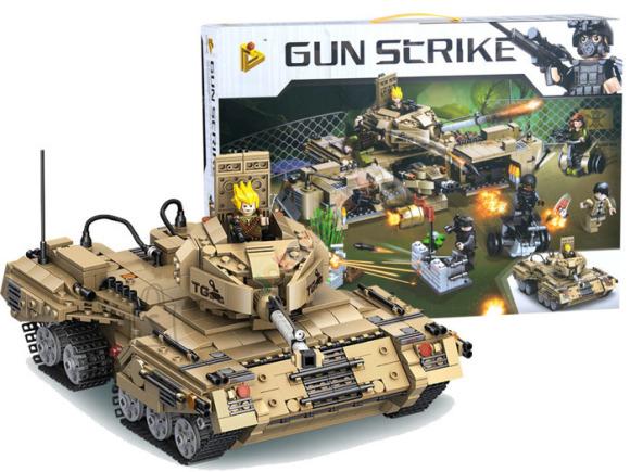 Ehitusklotsid sõjaväebaas + tank