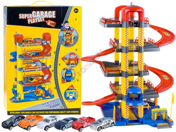 4-korruseline mängugaraaž + 6 mänguautot