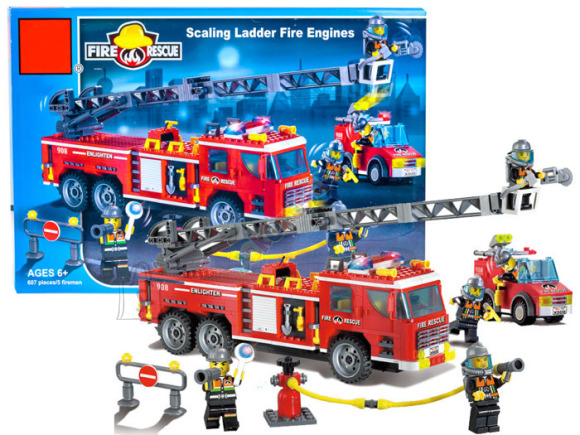 Ehitusklotside komplekt tuletõrjeauto, 607 osa