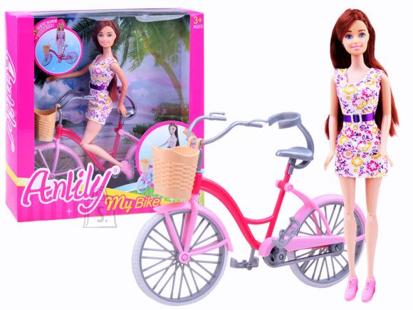 Glamuurne mängunukk koos rattaga