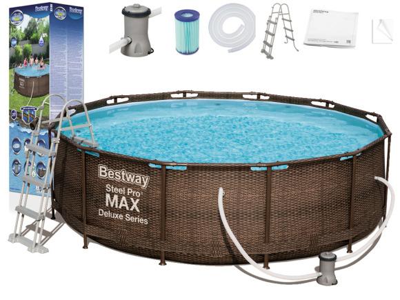 Bestway Bestway Frame pool 366x100cm 9in1 rattan 56709