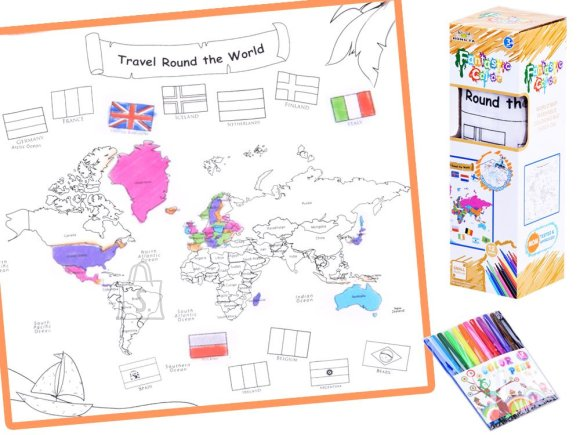 Coloring book washable MAP OF THE WORLD + markers ZA2823