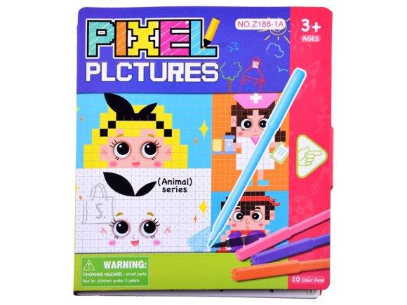 Educational coloring book pixels  ZA3371
