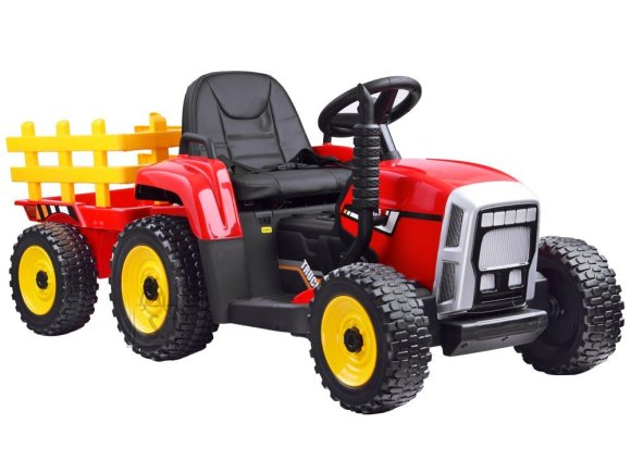 Tractor with a trailer for a battery + PA0242 remote control - punane