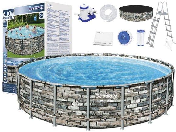 Bestway Bestway Frame pool 610x132cm 10in1 stone 56883