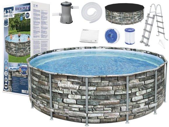 Bestway Bestway Frame pool 427x122cm stone 11in1 56993