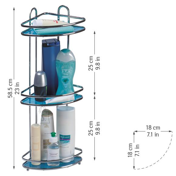 Tatkraft Tatkraft Kaiser Compact 3-tasandiline vannitoa nurgariiul