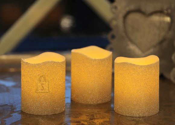 Vahast LED küünalde komplekt 3tk, hõbedane