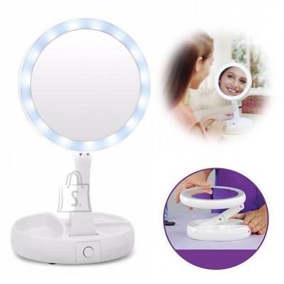 Kahepoolne elegantne LED-kosmeetiline peegel 360 ° pöörlemis võimalusega.