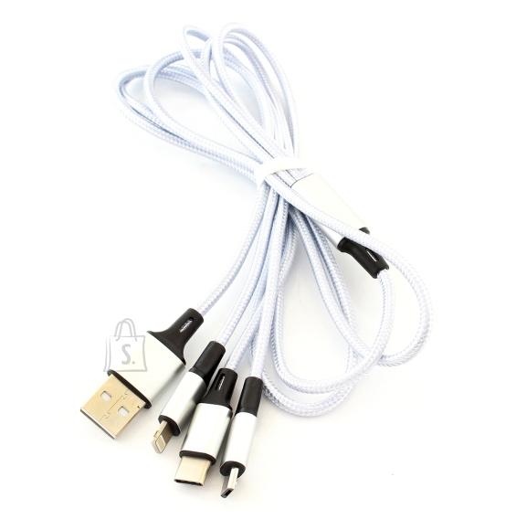 3in1 telefoni laadimis kaabel MICRO USB/USB-C/LIGHTNING Valge KK21J