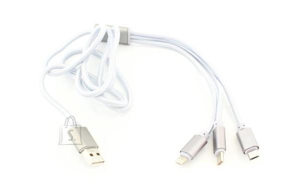 3in1 telefoni laadimis kaabel MICRO USB USB-C LIGHTNING Hõbe KK21M